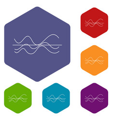sound waves icons set vector image