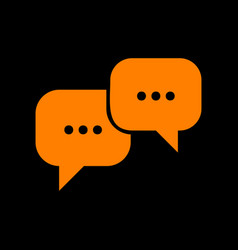 speech bubbles sign orange icon on black vector image vector image