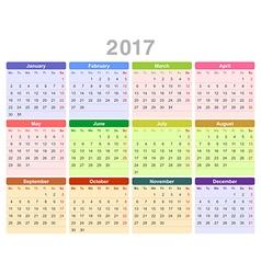 2017 year annual calendar monday first english vector