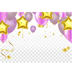 pink balloons on white background balloon pink vector image