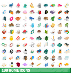 100 home icons set isometric 3d style vector image