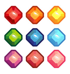 a set of colored gems vector image vector image