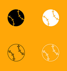 baseball ball black and white set icon vector image vector image