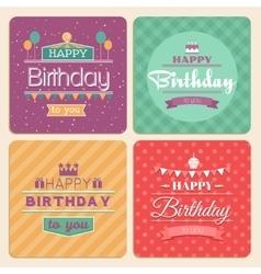 Happy Birthday card set in retro design vector image vector image