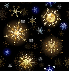 Seamless with Golden Snowflakes vector image