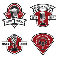 set of emblems with old style microphone isolated vector image vector image