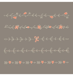 Set of hand drawn floral elements vector image
