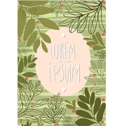 Tamplate card with green leaves and cowberry vector image