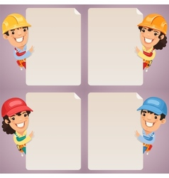 Builders Cartoon Characters Looking at Blank vector image vector image