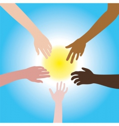 five hands of different races vector image vector image