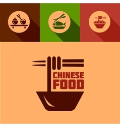 flat chinese food design elements vector image vector image