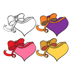 heart with ribbon set vector image vector image