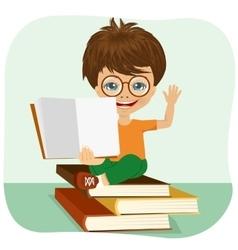 little boy showing an open book vector image