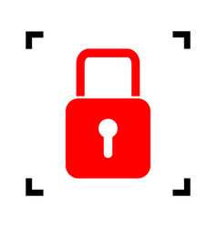 lock sign red icon inside vector image