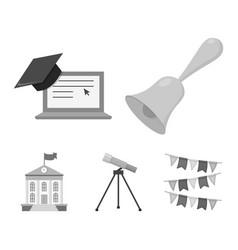 school bell computer telescope and school vector image vector image