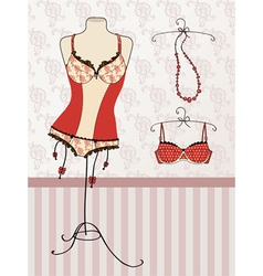 vintage corset and bra vector image