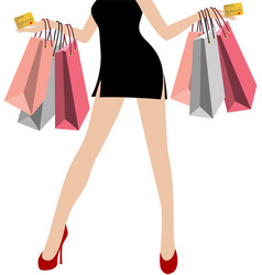 Woman hand in black mini dresses with many vector