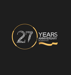 27 years anniversary logotype style with silver vector