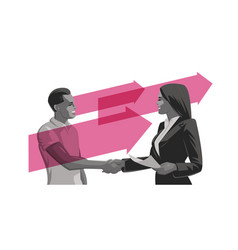a man and a woman make a deal handshake vector image