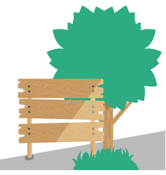 A wooden sign with tree in background vector