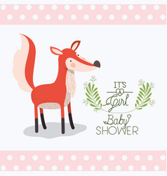 baby shower card with cute fox vector image