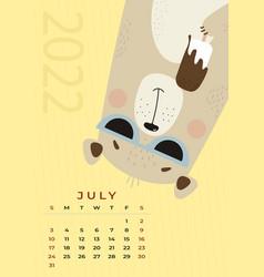 Bear calendar july 2022 cute in sun glasses vector