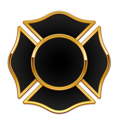 Blank fire department logo base black and gold vector