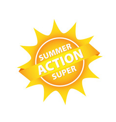 Bright sun button tag with summer supper action vector