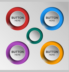 button icons flat color shadow vector image vector image