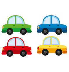 Cars in four different colors vector