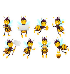 cartoon bee character bees honey flying cute vector image