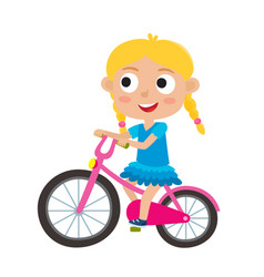 cartoon blonde girl riding a bike having fun vector image