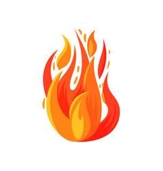 Cartoon icon of brightly blazing fire burning vector