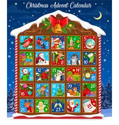 christmas winter holiday advent calendar template vector image