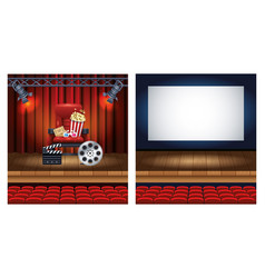 cinema entertainment with set scene icons vector image