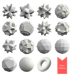 collection of 15 3d geometric shapes vector image