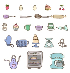 Collection of baking items vector