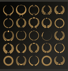 collection of different laurel wreaths retro vector image