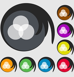Color scheme icon sign Symbols on eight colored vector
