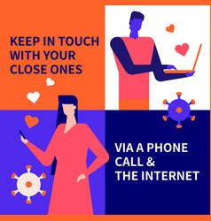 communication online idea - flat design style vector image