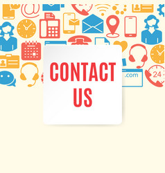 contact us flat set vector image