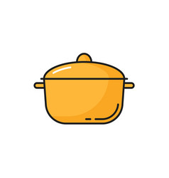 Cooking pot with cover to cook food isolated icon vector