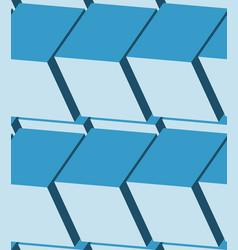 cubes 3d seamless pattern monochrome blue vector image