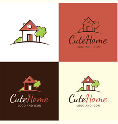 Cute house logo and icon vector