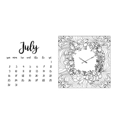Desk calendar template for month July vector