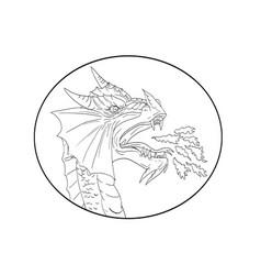 dragon fire circle drawing vector image