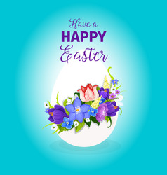easter spring flowers paschal egg greeting vector image