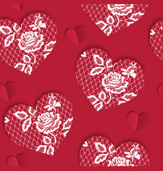 elegant seamless pattern valentines day with lacy vector image