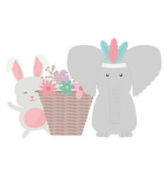 elephant and rabbit with feathers hat and basket vector image