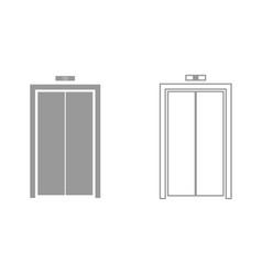 Elevator doors it is black icon vector